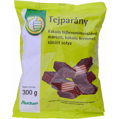 Wafers with cocoa cream filling (45%) dipped in milk chocolate paste