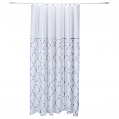 ACT/ SHOWER CURTAIN, POLYESTER 100GSM, 180X200CM, WHITE STRIPES DOBBY