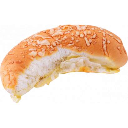 Breadroll scattered with cheese