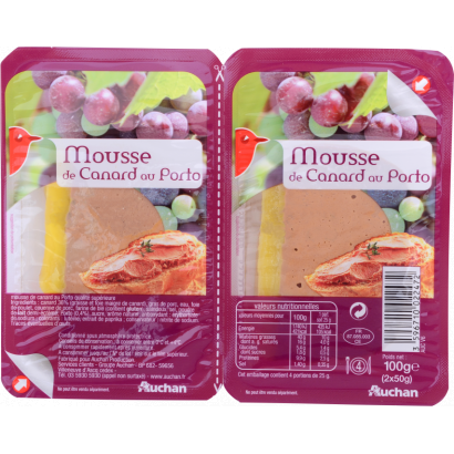 Auchan duck pate with port wine 2x50 g