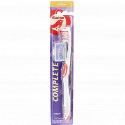 AUCHAN TOOTHBRUSH COMPLETE CARE MEDIUM - WITH  BRUSH COVER - X1