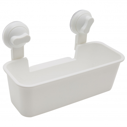 ACT/ RECTANGLE BASKET WITH SUCTION CUP, ABS, 24X11X16,5CM, CL: WHITE