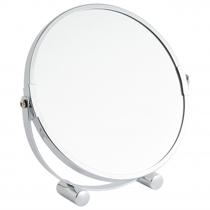 ACT/ ROUND BATHROOM MIRROR, DIAM 17CM, 2 SIDES: X1, X2, CHROME, CL: SILVER