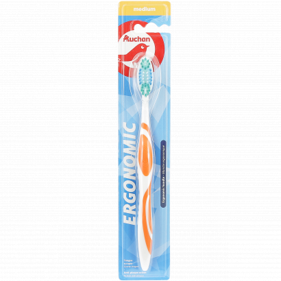 AUCHAN TOOTHBRUSH ERGONOMIC MEDIUM - PACK X1