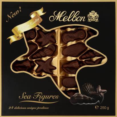 Melbon Sea Figures from Dark Chocolate with Cocoa Hazelnut Praline Filling 24 pcs 250 g