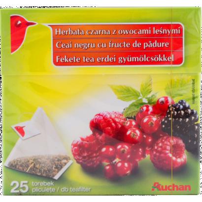 AUCHAN BLACK TEA WITH FOREST FRUIT PYRAMID 25X1,7G (BIRDIE)