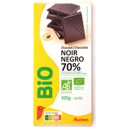 Auchan Bio Étcsokoládé  70% 100 g