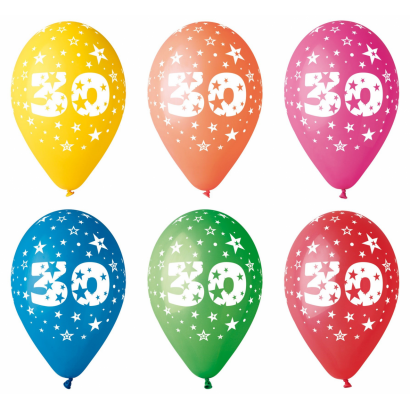 Balloon with number 30, 8/pcs.