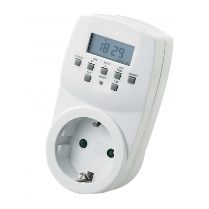 Digital weekly timer with child.prot. IP20, 1800 W, 2 A/460 VA, 230 V~, 50 Hz, 8(2) A