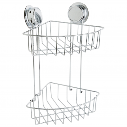 ACT/ DOUBLE CORNER SHELVES WITH AIR SUCTION CUP, CHROME & RUBBER, CL: SILVER