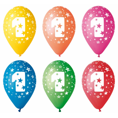 Ballon with number 1, 8/pcs.