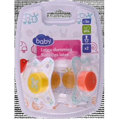 Auchan Baby játszócumi, latex, 12 hónapos kortól, 2 db.