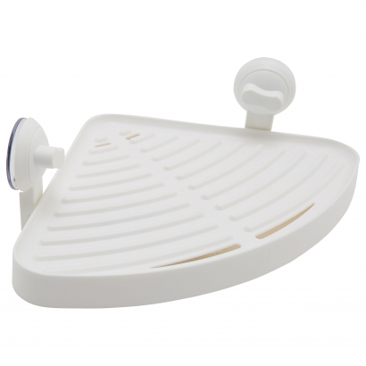 ACT/ CORNER SHELVE WITH SUCTION CUP, ABS, 28,5X20X10CM,  CL: WHITE
