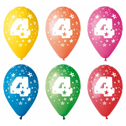 Balloon with number 4, 8/pcs.