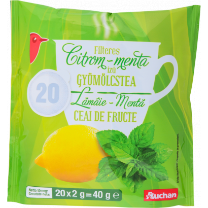 AUCHAN FRUIT TEA, LEMON-MINT 20X2G