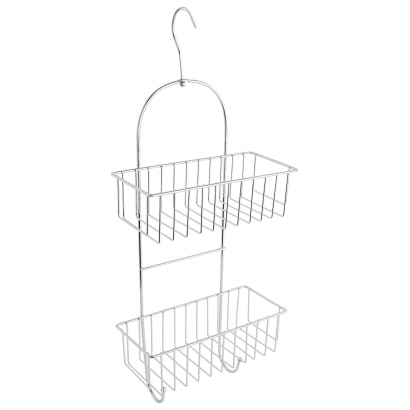 ACT/ HANGING SHOWER RACK 2 SHELVES WITH 2 HOOKS, CHROME, CL: SILVER