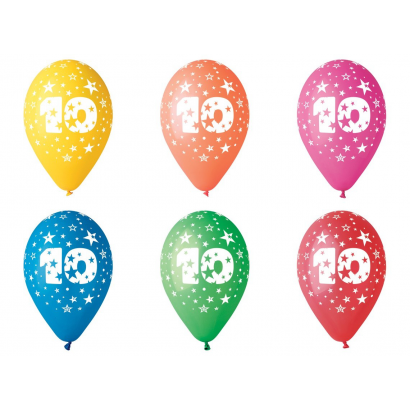 Balloon with number 10, 8/pcs.