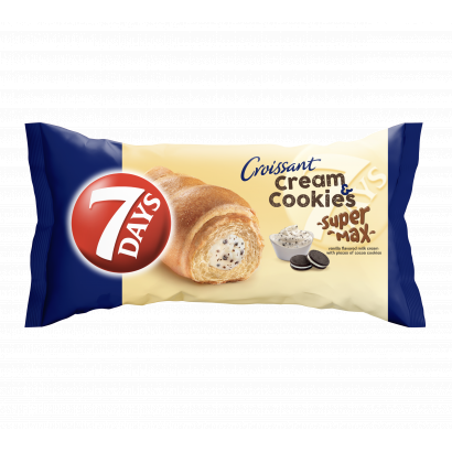 7DAYS Cream & Cookies Super Max Croissant with Vanilla Flavoured Cream with Digestive Cookies 110 g