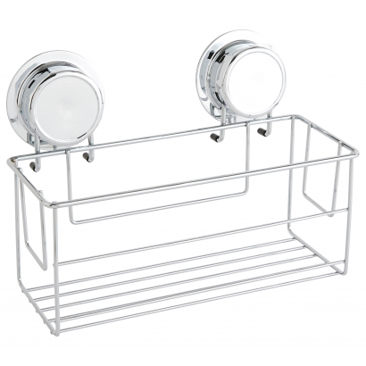 ACT/ RECTANGLE BASKET WITH AIR SUCTION CUP, CHROME & RUBBER, CL: SILVER