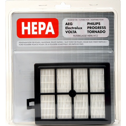 HEPA filter adaptable for AEG; packed in a blister package with inlay