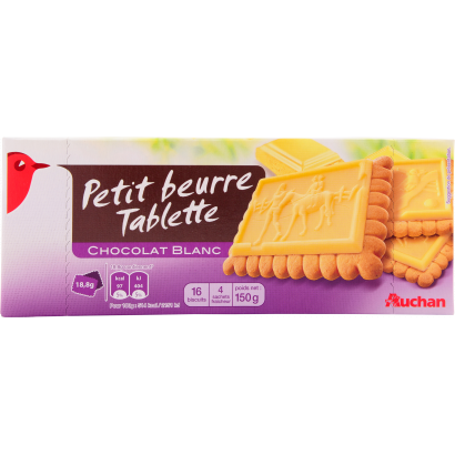 Auchan biscuits with white chocolate 150 g