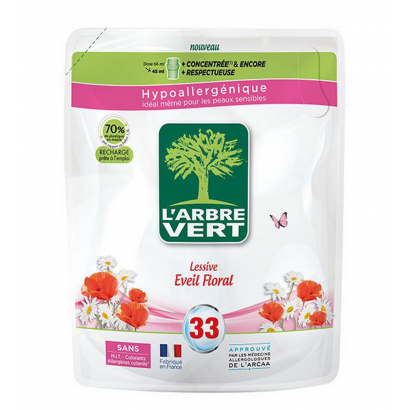 Arbre Vert Liquid detergents with vegetal soap, Floral awakening refill 1,5L