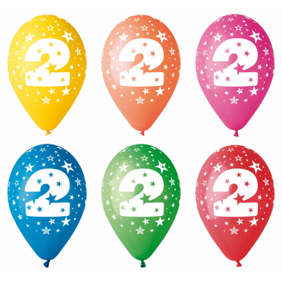 Balloon with number 2, 8/pcs.