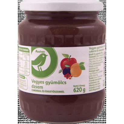 Auchan Optimum Vegyes gyümölcs dzsem cukorral és édesítőszerrel 620 g