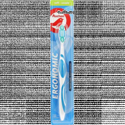 AUCHAN TOOTHBRUSH ERGONOMIC SOFT - PACK X1