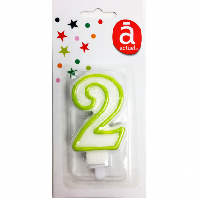 ACT/NUMBER CANDLE 2, WHITE WITH COLORED CONTOUR, 4 COLORS ASSORTED