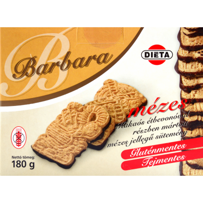 Barbara Honey cake, part covered is chocolate-flavoured coating - gluten-free