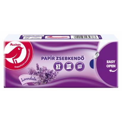 Auchan levendula illatú papír zsebkendő 3rétegű 100 db