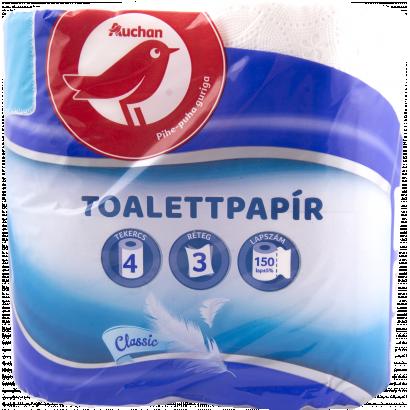 Auchan classix toalettpapír  3 rétegű 4 tekercses