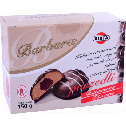 Barbara Honey-like biscuit filled with mixed marmalade, dipped in cocoa mass - gluten-free cake