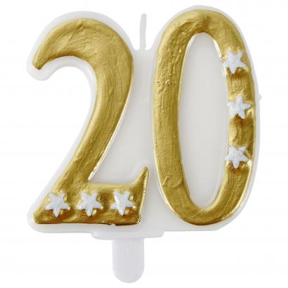 Actuel számgyertya 20 arany színű