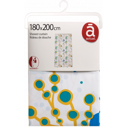 ACT/ SHOWER CURTAIN, PRINTED, PEVA, 180X200CM, CERAMIC CORAL DESIGN