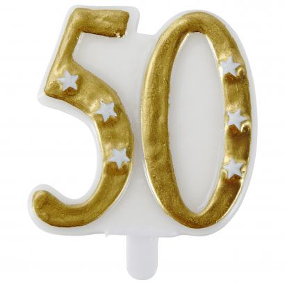 Actuel számgyertya 50 arany színű