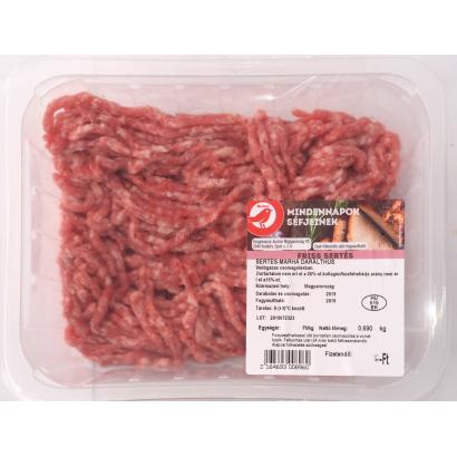 Auchan Nívó sertés marha darálthús védőgázas csomagolásban.