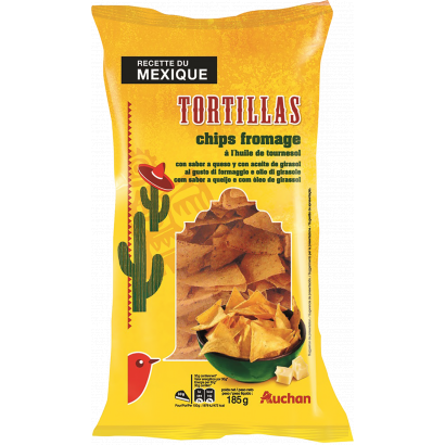 Auchan tortilla chips chilis 185 g