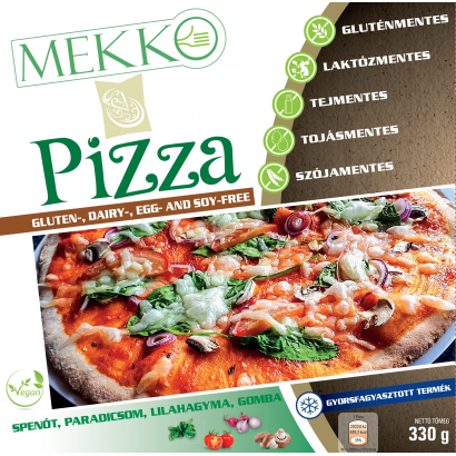 Frozen pizza made with vegetabla and plant based ingredients,free of gluten,milk,eggs,soya