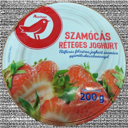 Auchan Nívó Szamócás réteges élőflórás joghurt 200 g