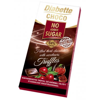 Diabette NAS LAKTÓZMENTES trüffelkrémmel töltött étcsokoládé  édesítőszerrel, erittel 80g