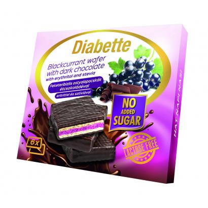 Diabette NAS LAKTÓZMENTES fribizlis krémmel töltött OSTYALAPOCSKÁK étcsokoládéval mártva ostya édesítőszerrel, erittel 96 g