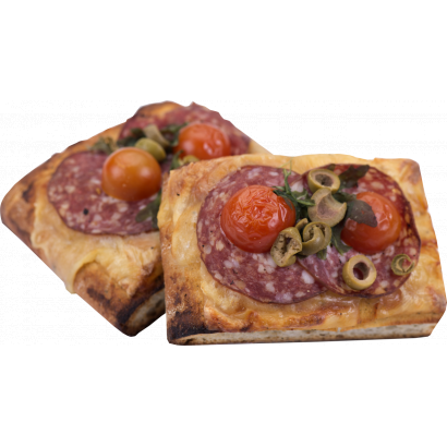 Focaccia with salami