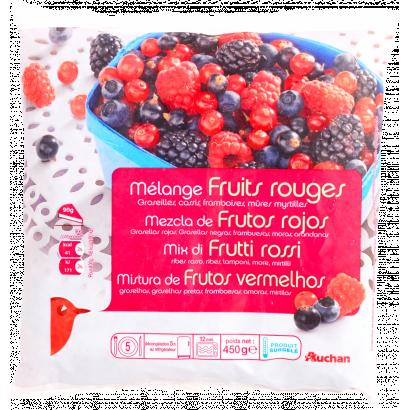 Auchan gyümölcskeverék piros bogyós 450 g