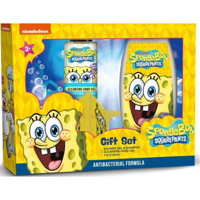 SpongyaBob ajándékcsomag 3 db-os (tusfürdő&sampon 2in1 250 ml+kéztisztító gél 50 ml+arcmaszk)