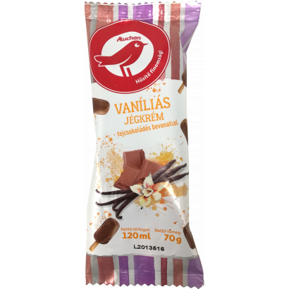 Auchan Nívó Vaníliás jégkrém tejcsokoládés bevonattal 120 ml