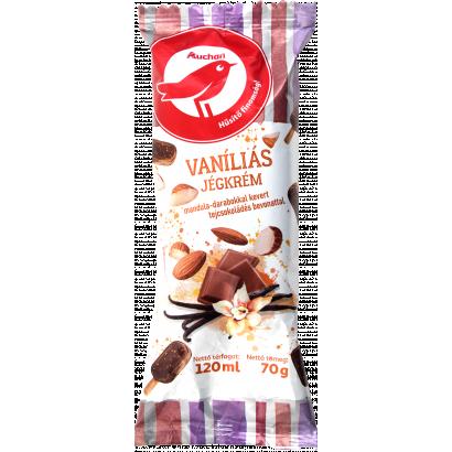 Auchan Nívó Vaníliás, mandulás jégkrém tejcsokoládés bevonattal 120 ml