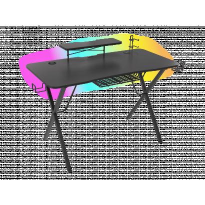 Genesis Holm 300 Gamer asztal RGB világítással, fekete