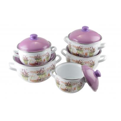 Enamelled cookware set 16-24 lavender